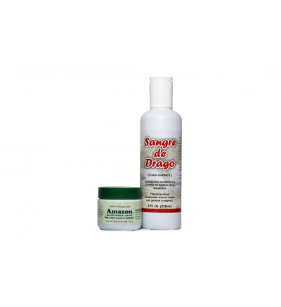 Amazon Salve Veterinary Bundle One large Amazon Black Salve for Cats, Dogs, and Horses (102 g.) and one large Sangre de Drago (8 fl. oz.)