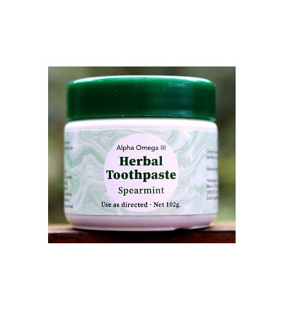 Alpha Omega III Herbal Toothpaste (102 g.) -- SPEARMINT-flavored
